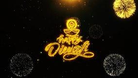 El diya feliz del diwali desea la tarjeta de felicitaciones, invitación, fuego artificial de la celebración colocado