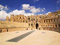 El Djem amphiteater. Panoramic of El Djem coliseum, Tunisia Royalty Free Stock Photo