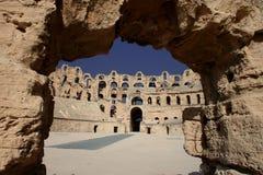 EL Djem, Roman Amphitheatre em Tunísia foto de stock