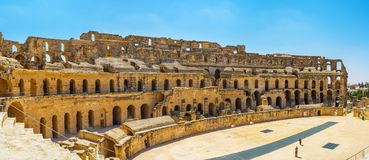 Panorama of arena in El Jem amphitheater, El Djem Royalty Free Stock Photos