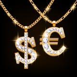 El dólar y el euro firman el collar de la joyería en cadena de oro Imagen de archivo libre de regalías