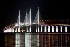el 2do puente de Penang se enciende para arriba Fotografía de archivo libre de regalías
