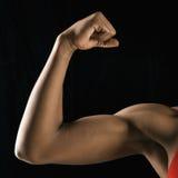 El doblar femenino fuerte del bicep. Imágenes de archivo libres de regalías