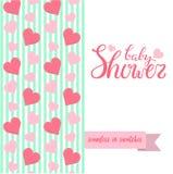 El doble echó a un lado tarjeta de felicitación linda para el partido de ducha recién nacido del bebé Imagenes de archivo