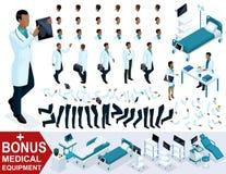 El doctor African American de Isometrics muestra pruebas, crea su cirujano del carácter 3D, sistemas de gestos de pies y las mano Libre Illustration