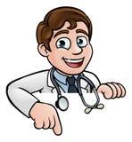 El doctor Cartoon Character Pointing Imagen de archivo libre de regalías