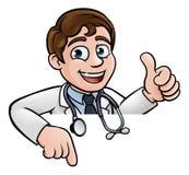 El doctor Cartoon Character Thumbs para arriba que señala abajo Imágenes de archivo libres de regalías