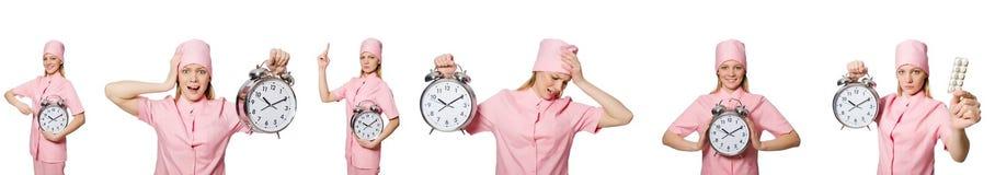 El doctor de la mujer que falta sus plazos Foto de archivo