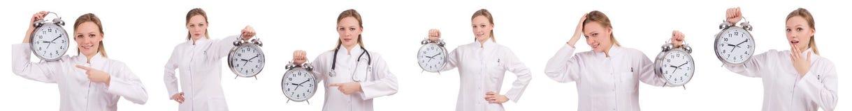 El doctor de la mujer que falta sus plazos Imagen de archivo libre de regalías