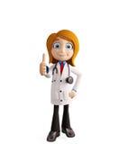 El doctor de sexo femenino con los pulgares para arriba presenta imagen de archivo libre de regalías