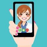 El doctor de sexo femenino en línea Call stock de ilustración
