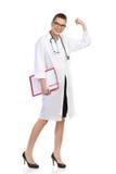 El doctor de sexo femenino feliz Full Length Foto de archivo