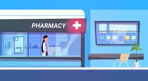 El doctor de sexo femenino In Pharmacy Store en tienda moderna de la droguería del hospital stock de ilustración