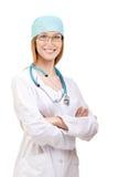 El doctor de sexo femenino Standing con el estetoscopio Imagen de archivo