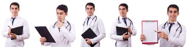 El doctor de sexo masculino aislado en el blanco Fotografía de archivo