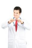 El doctor de sexo masculino hispánico Smiling Quitting Smoking V Imágenes de archivo libres de regalías