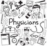 El doctor del médico y otras profesiones del médico garabatean el icono stock de ilustración