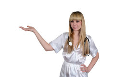El doctor en una bata blanca en un fondo blanco Imagenes de archivo