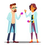 El doctor Holding Condom Packaging, educación sexual en el vector de la escuela Ejemplo aislado de la historieta stock de ilustración