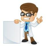 El doctor Holding una muestra y el señalar en blanco stock de ilustración