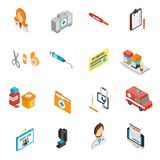 El doctor Icon Isometric Set Fotos de archivo