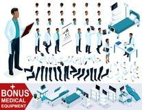 El doctor isométrico African American, crea su cirujano 3D, sistemas de gestos de piernas y de manos, emociones y peinados Stock de ilustración