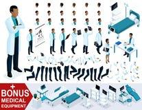 El doctor isométrico African American, crea su paramédico 3d, sistemas de gestos de piernas y de manos, emociones y peinados Stock de ilustración