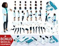 El doctor isométrico African American de la mujer, crea su cirujano 3D, sistemas de los gestos de los pies, las manos y las emoci Stock de ilustración