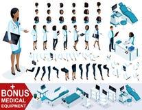 El doctor isométrico African American de la mujer, crea su cirujano 3D, sistemas de los gestos de los pies, las manos y las emoci Ilustración del Vector
