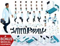 El doctor isométrico The African American va, crea su carácter 3D como cirujano, sistemas de los gestos de las piernas y las mano Ilustración del Vector