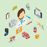 El doctor Isometric Set stock de ilustración