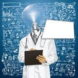 El doctor Man With Clipboard de la cabeza de la lámpara del vector Imagenes de archivo