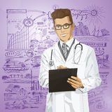 El doctor Man With Clipboard del inconformista del vector stock de ilustración