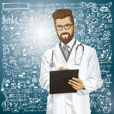 El doctor Man With Clipboard del inconformista del vector Foto de archivo libre de regalías