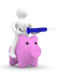 El doctor pone la inyección al cerdo. gripe de los cerdos Imagen de archivo