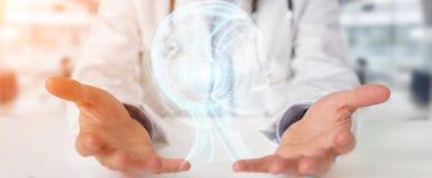 El doctor que usa el interfaz digital 3D de la inteligencia artificial rinde Fotos de archivo