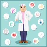 El doctor sostiene píldoras Doctor en estilo de la historieta Sistema de iconos en un tema médico Ilustración del Vector
