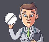 El doctor sostiene una p?ldora ilustración del vector