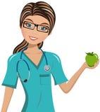 El doctor Surgeon Holding Apple de la mujer ilustración del vector