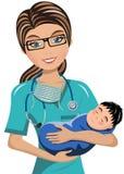 El doctor Surgeon Newborn de la mujer ilustración del vector