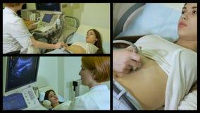 El doctor trabaja con el dispositivo del ultrasonido metrajes