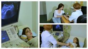 El doctor trabaja con el dispositivo del ultrasonido, collage almacen de metraje de vídeo