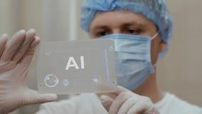 El doctor utiliza la tableta con el texto AI metrajes