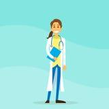 El doctor Woman Cartoon Person Hold Clipboard Imágenes de archivo libres de regalías