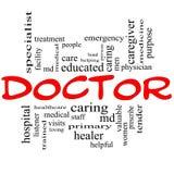 El doctor Word Cloud Concept en rojo y negro Fotografía de archivo libre de regalías