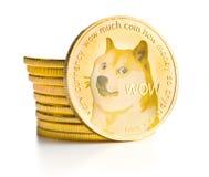 El dogecoin de oro fotografía de archivo