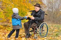 El donante del niño joven los ancianos sirve las hojas de otoño Imagen de archivo