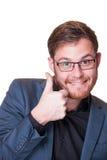 El donante entusiasta del hombre los pulgares sube gesto Foto de archivo libre de regalías