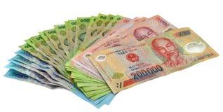 El dong del dinero en circulación de Vietnam observa el dinero Imagenes de archivo