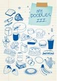 El Doodle fijó 3 stock de ilustración